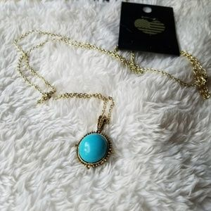Brandy Melville Turquoise GOLD Turquoise Necklace